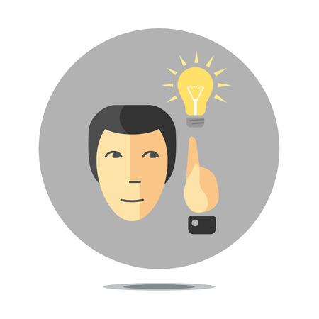 new idea: conceptual sign with person having new idea, flat design style