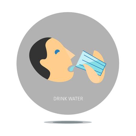 segno concettuale stilizzato con acqua potabile persona