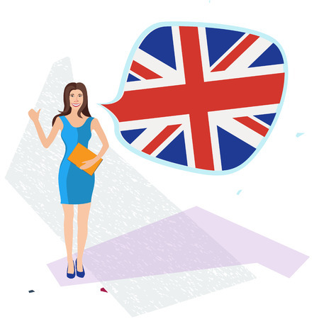 pronunciation: figure of young woman standing with english flag speech bubble
