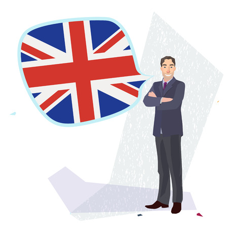 pronounce: figure of a man standing with english flag speech bubble