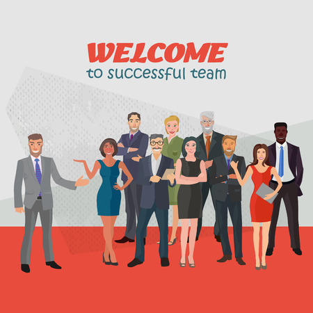 business people standing: group of modern positive business people standing frontal in abstract space Illustration