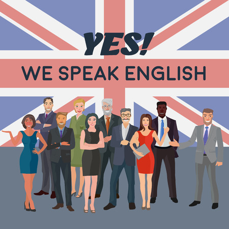 business people standing: group of business people standing in front of english flag
