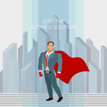 mighty: Business man standing like a superhero, vector business illustration