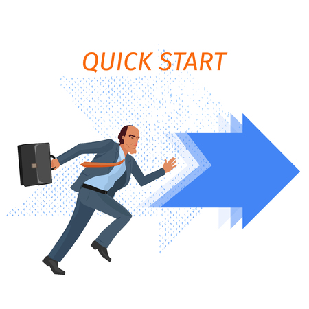 starting a business: serious business man starting fast, conceptual business illustration Illustration