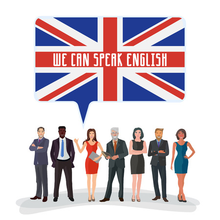 business people standing: group of business people standing with speech bubble colored in english flag