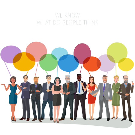 large group of business people standing frontal with speech bubbles above them