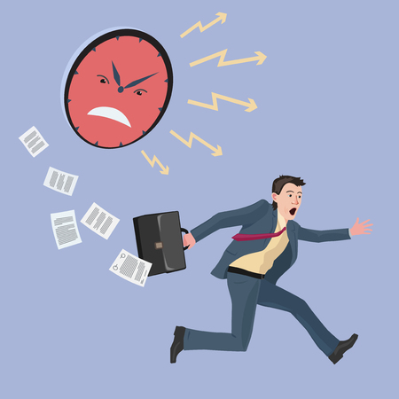 very concerned and strongly hurrying man in a business suit Illustration