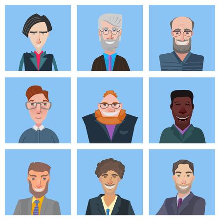 old man portrait: nice set of fun cartoon avatars, stylized flat design illustration Illustration