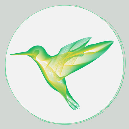 pollinate: stylized illustration of small hummingbird flying to a flower Illustration