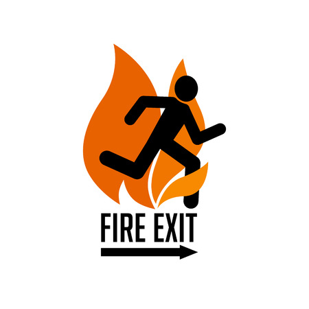 stylized sign with human figure running out of fire Illustration