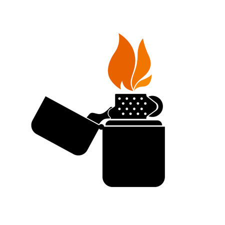 gas lighter: detailed stylized lighter sign with flame, clean design elements