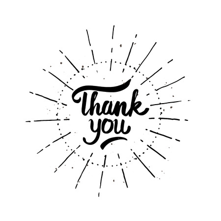 gratefulness: lettering, vintage style text Thank You, retro stamp vignette