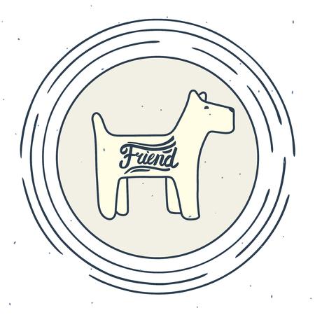 lineart: stylized line-art symbol of a friendly small dog
