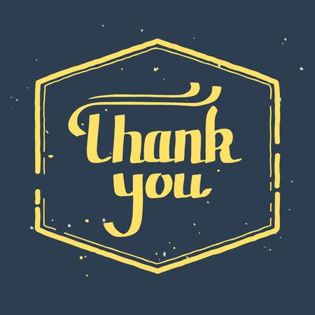 agradecimiento: dibujado a mano las letras, el texto del estilo de la vendimia Gracias, viñeta sello retro Vectores