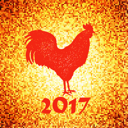 next year: shiny background with tiny golden particles and rooster silhouette on it