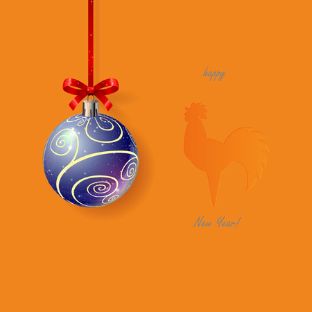 beautiful christmas ball with cardboard background with stamped stylized rooster