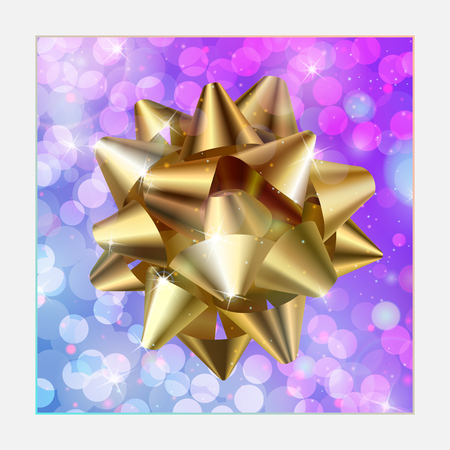 glossy golden satin object on glowing and sparkling festive background Illustration