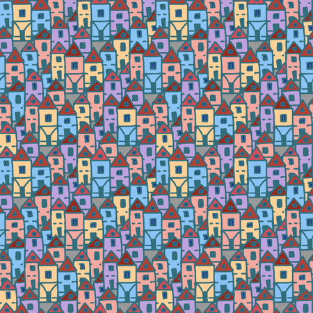 neighbourhood: seamless hand drawn background, good as fabric doodle pattern
