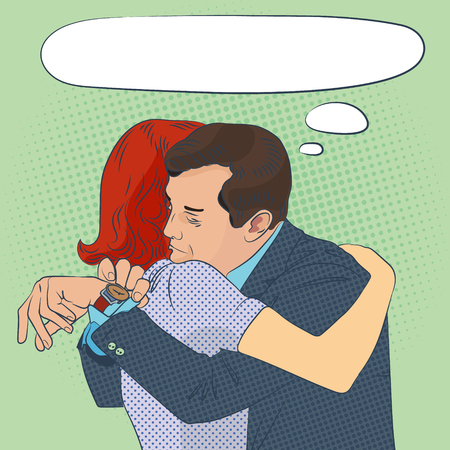 parting: the long parting, man and woman hug, pop-art style illustration Illustration