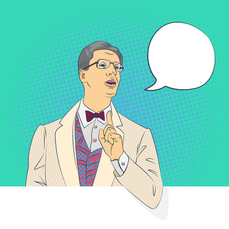 handsome man talking, pop-art style conceptual illustration Illustration