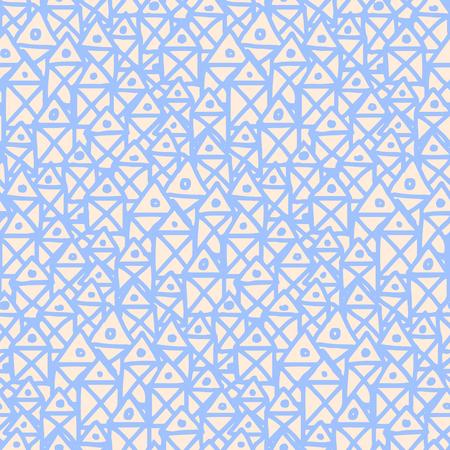 line-art geometric doodles - stylized houses seamless pattern