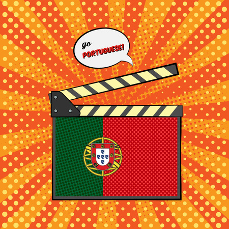 Concept of learning languages, study Portuguese. Movie clapper board with pop-art style flag of Portugal