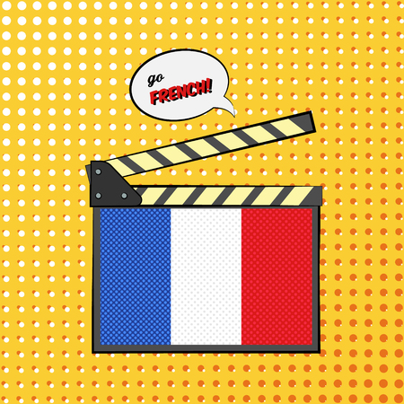 french board: Concept of learning languages, study French Language. Movie clapper board with pop-art style French flag.