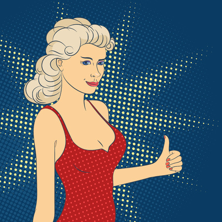 Portrait of sexy smiling woman holds thumb up. Female character vector illustration