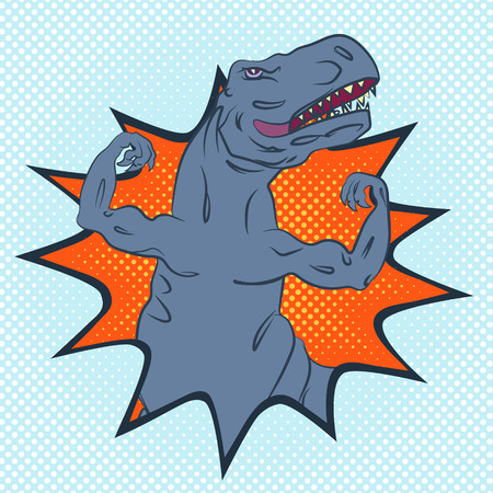 plackard: brave and strong tyrannosaurus with well-trained upper limbs, pop-art style conceptual illustration