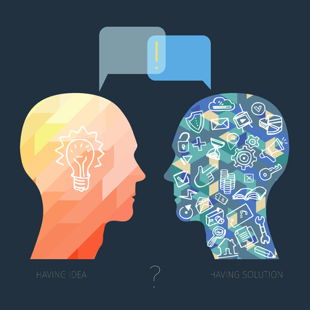 help each other: head with idea and head with instrument and technology talking to each other, modern design business concept Illustration