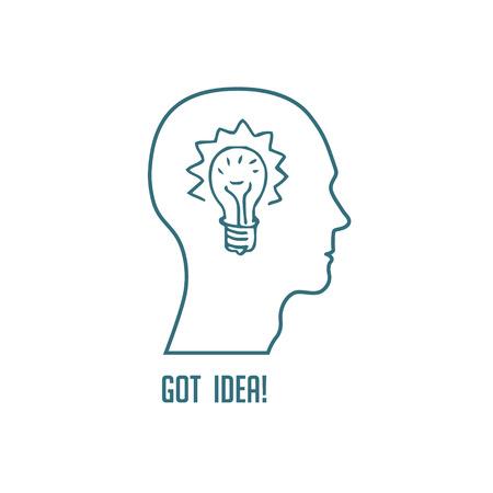 lineart: man head with idea symbol inside, conceptual line-art illustration Illustration