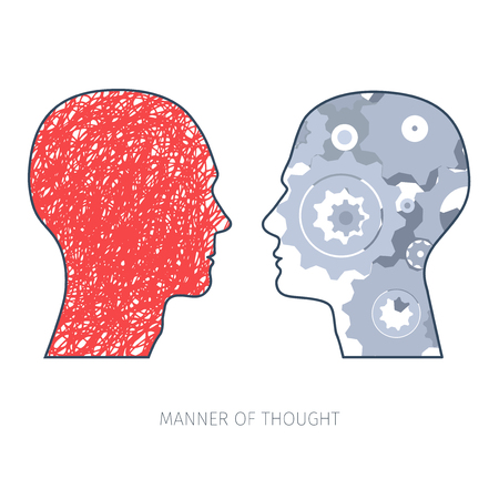different thinking: two heads silhouettes with graphic expression of different ways of thinking Illustration