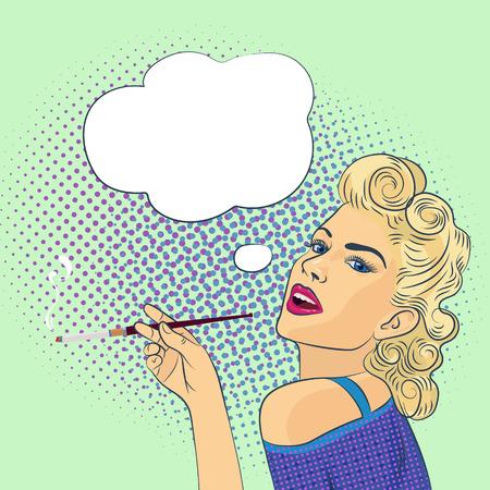 schöne junge Frau mit einer Zigarette, stilisiert Zeichen