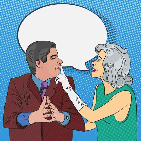 guardar silencio: mujer joven mandó a sus hombres para mantener silencioso Vectores