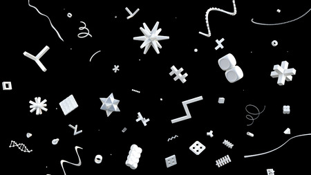 geometric background with many strange geometric shapes flying in space