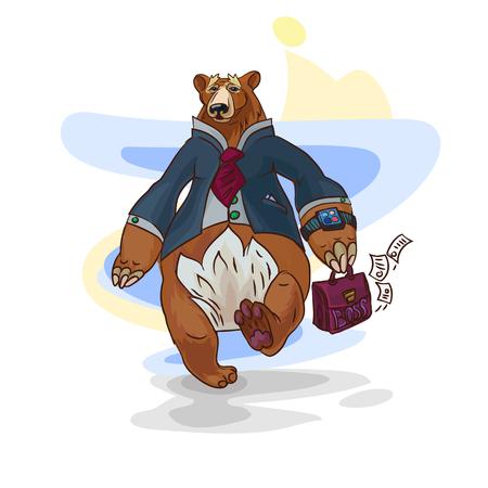 animalistic: Business bear illustration