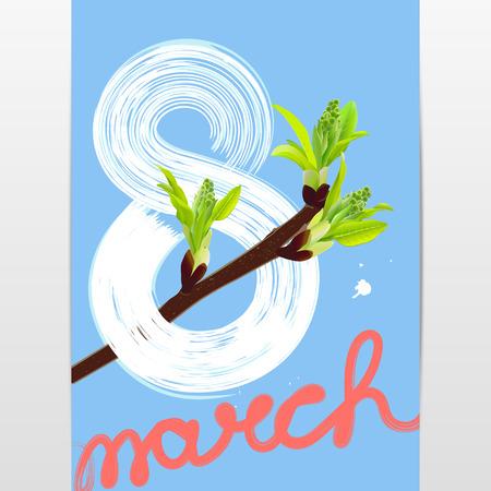 a sprig: spring festive card Illustration