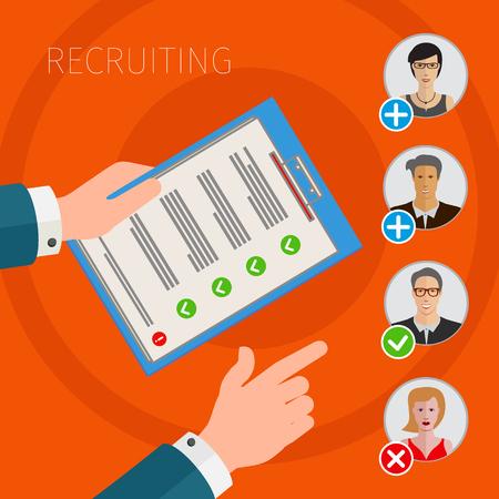 list of successful candidates: Orange vector business illustration