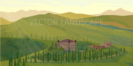 green fields: Green rural landscape of summer fields with trees, hills and houses,