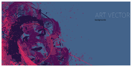 purple artistic neo-grunge style abstract backgrounds, made with hand drawn textures and brushes Illustration