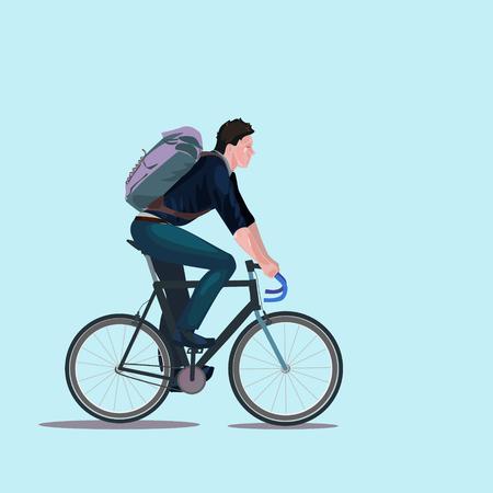 illustrating: man riding bicycle
