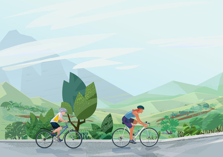 High quality vector illustration with modern landscape and people riding bicycle