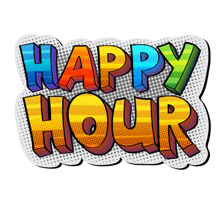 happy hour sticker Vector illustration.