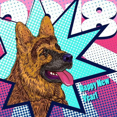 Dog design 2018 greeting card