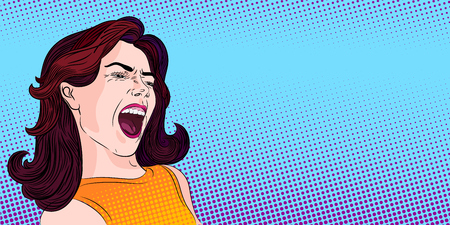 Very excited girl screaming loud, pop-art stylized conceptual illustration