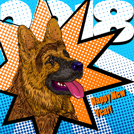 Creative card for a new 2018 year of dog with stylized shepherd, trendy pop-art illustration Illustration