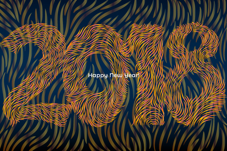 artistic illustration with 2018 year numbers created of tiny colorful strokes