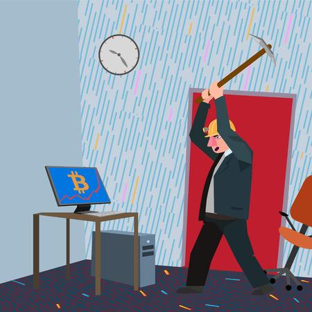 Man destroying bitcoin computer 일러스트