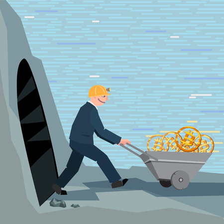 A conceptual business illustration bitcoins Illustration