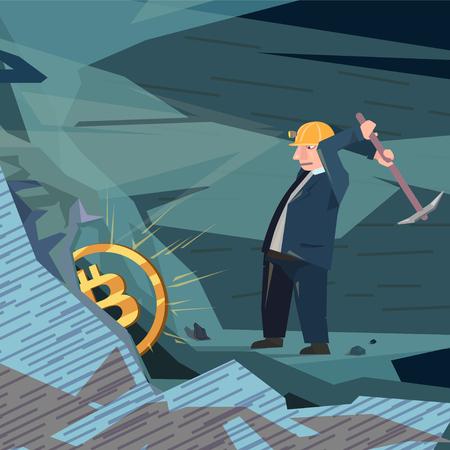 Man mining bitcoin concept